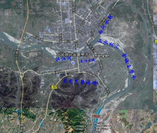 图一:襄阳城市风水卫星全图
